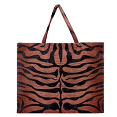 Skin2 Black Marble & Copper Brushed Metal (r) Zipper Large Tote Bag