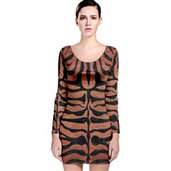 SKN2 BK MARBLE COPPER (R) Long Sleeve Velvet Bodycon Dress