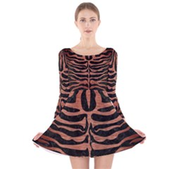 SKN2 BK MARBLE COPPER Long Sleeve Velvet Skater Dress