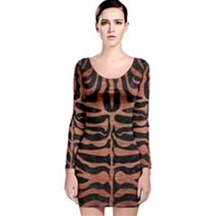 SKN2 BK MARBLE COPPER Long Sleeve Velvet Bodycon Dress