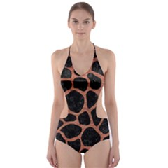 SKN1 BK MARBLE COPPER (R) Cut-Out One Piece Swimsuit