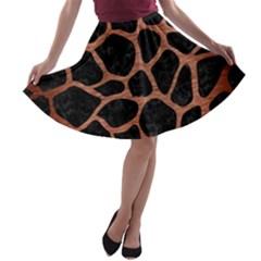 SKN1 BK MARBLE COPPER (R) A-line Skater Skirt