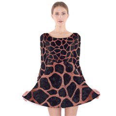 Skin1 Black Marble & Copper Brushed Metal (r) Long Sleeve Velvet Skater Dress
