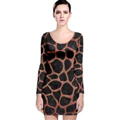 SKN1 BK MARBLE COPPER (R) Long Sleeve Velvet Bodycon Dress
