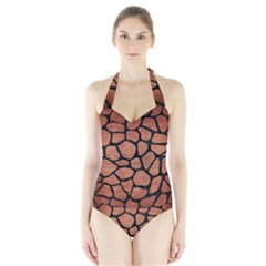 SKN1 BK MARBLE COPPER Women s Halter One Piece Swimsuit