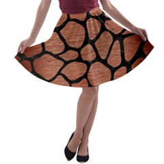 Skin1 Black Marble & Copper Brushed Metal A Line Skater Skirt