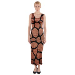 SKN1 BK MARBLE COPPER Fitted Maxi Dress