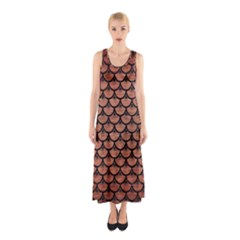 Scales3 Black Marble & Copper Brushed Metal (r) Sleeveless Maxi Dress