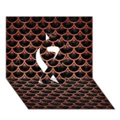 Scales3 Black Marble & Copper Brushed Metal Ribbon 3d Greeting Card (7x5)