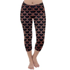 Scales3 Black Marble & Copper Brushed Metal Capri Winter Leggings