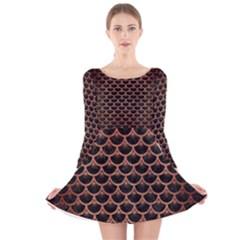 SCA3 BK MARBLE COPPER Long Sleeve Velvet Skater Dress