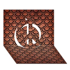 Scales2 Black Marble & Copper Brushed Metal (r) Peace Sign 3d Greeting Card (7x5)