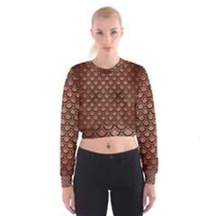 Scales2 Black Marble & Copper Brushed Metal (r) Cropped Sweatshirt