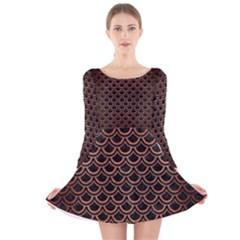 SCA2 BK MARBLE COPPER Long Sleeve Velvet Skater Dress
