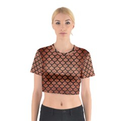 Scales1 Black Marble & Copper Brushed Metal (r) Cotton Crop Top