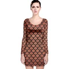 SCA1 BK MARBLE COPPER (R) Long Sleeve Velvet Bodycon Dress