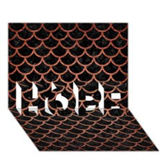 Scales1 Black Marble & Copper Brushed Metal Hope 3d Greeting Card (7x5)