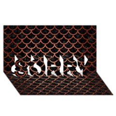 Scales1 Black Marble & Copper Brushed Metal Sorry 3d Greeting Card (8x4)