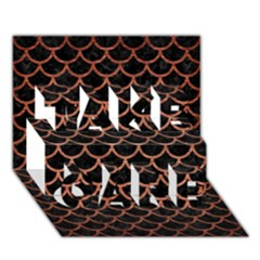 Scales1 Black Marble & Copper Brushed Metal Take Care 3d Greeting Card (7x5)