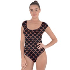 Scales1 Black Marble & Copper Brushed Metal Short Sleeve Leotard