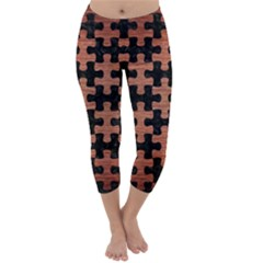 PUZ1 BK MARBLE COPPER Capri Winter Leggings