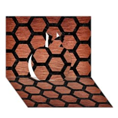 Hexagon2 Black Marble & Copper Brushed Metal (r) Apple 3d Greeting Card (7x5)