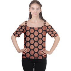 Hexagon2 Black Marble & Copper Brushed Metal (r) Cutout Shoulder Tee