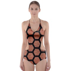 Hexagon2 Black Marble & Copper Brushed Metal (r) Cut Out One Piece Swimsuit