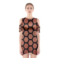 HXG2 BK MARBLE COPPER (R) Cutout Shoulder Dress