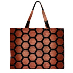 HXG2 BK MARBLE COPPER (R) Large Tote Bag