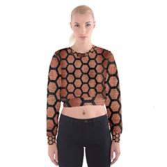 HXG2 BK MARBLE COPPER (R) Women s Cropped Sweatshirt