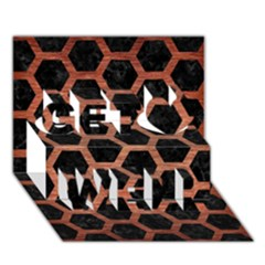 Hexagon2 Black Marble & Copper Brushed Metal Get Well 3d Greeting Card (7x5)