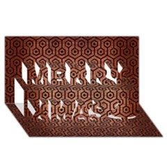 Hexagon1 Black Marble & Copper Brushed Metal (r) Merry Xmas 3d Greeting Card (8x4)