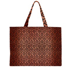 HXG1 BK MARBLE COPPER (R) Large Tote Bag