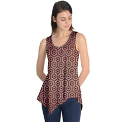 Hexagon1 Black Marble & Copper Brushed Metal (r) Sleeveless Tunic