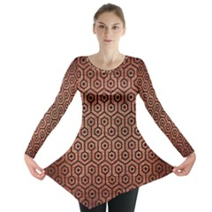 Hexagon1 Black Marble & Copper Brushed Metal (r) Long Sleeve Tunic