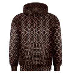 Hexagon1 Black Marble & Copper Brushed Metal Men s Zipper Hoodie