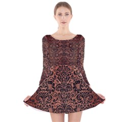 DMS2 BK MARBLE COPPER (R) Long Sleeve Velvet Skater Dress
