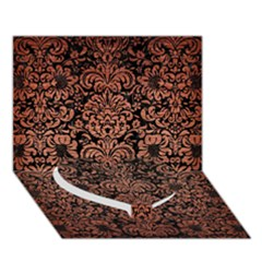 Damask2 Black Marble & Copper Brushed Metal Heart Bottom 3d Greeting Card (7x5)