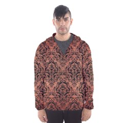 Damask1 Black Marble & Copper Brushed Metal (r) Hooded Wind Breaker (men)