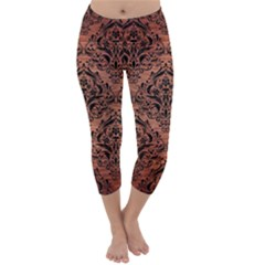 Damask1 Black Marble & Copper Brushed Metal (r) Capri Winter Leggings