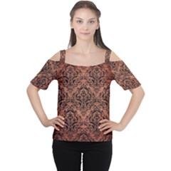 Damask1 Black Marble & Copper Brushed Metal (r) Cutout Shoulder Tee