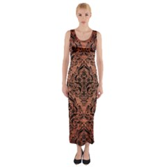 Damask1 Black Marble & Copper Brushed Metal (r) Fitted Maxi Dress