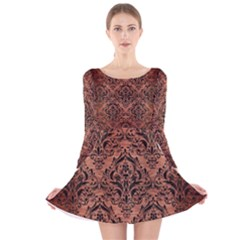 DMS1 BK MARBLE COPPER (R) Long Sleeve Velvet Skater Dress