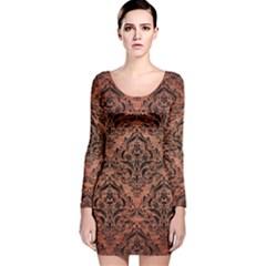DMS1 BK MARBLE COPPER (R) Long Sleeve Velvet Bodycon Dress