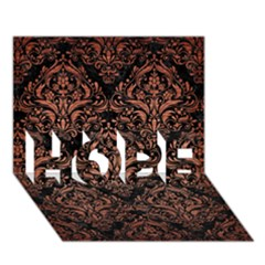 Damask1 Black Marble & Copper Brushed Metal Hope 3d Greeting Card (7x5)