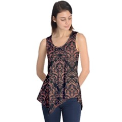 Damask1 Black Marble & Copper Brushed Metal Sleeveless Tunic