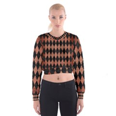 DIA1 BK MARBLE COPPER Women s Cropped Sweatshirt