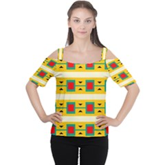 Connected squares and triangles Women s Cutout Shoulder Tee