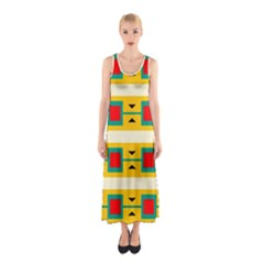 Connected squares and triangles Full Print Maxi Dress